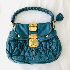Miu Miu Matelasse Turquoise Bag